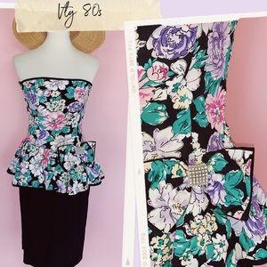 Vtg 80s Floral Bow Detail Strapless Wiggle Dress